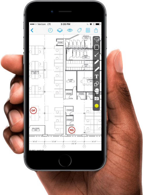 PlanGrid construction app on an iPhone