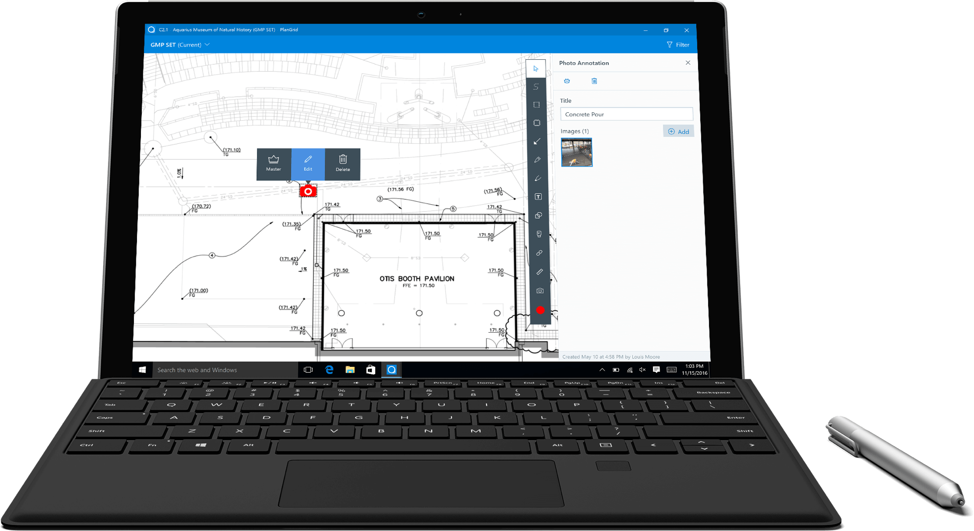 PlanGrid on a Surface Tablet